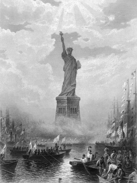 New York: the Statue of Liberty in New York Harbour