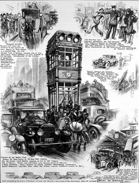 Illustration of congestion in New York city, showing carnage on the streets especially at rush hours. It is a state that it was felt London was rapidly approaching