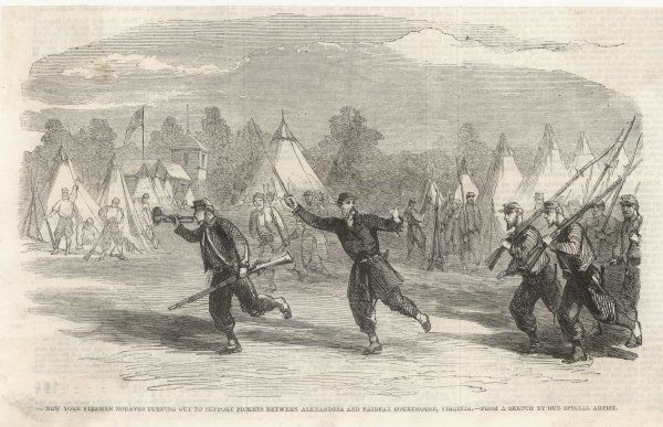 New York firemen zouaves turning out to support pickets between Alexandria and Fairfax Courthouse, Virginia