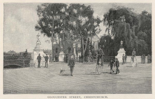 Christchurch: Gloucester Street, with people out walking and riding pennyfarthing cycles