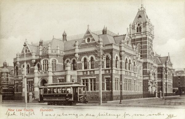 New Zealand - New Law Courts, Dunedin - a sweet little Dunedin City Corporation Tram is passing by. Date: circa 1903