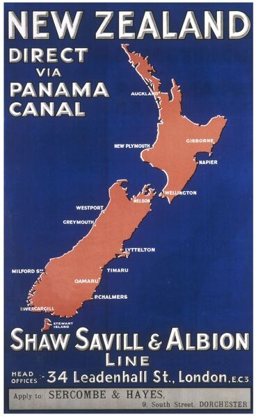 Poster produced by the Shaw, Saville and Albion Line advertising their passenger liners to New Zealand via the Panama Canal