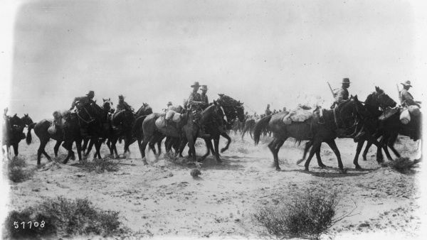 New Zealand troops on horseback on the road to Gaza, Palestine, during the First World War. Date: circa 1917