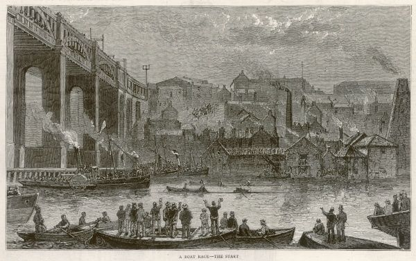 The start of a boat race during the George Stephenson centenary celebrations in Newcastle