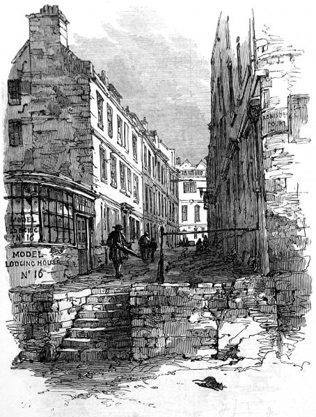 Engraving showing the street scene in Newcastle Court, London, 1866. This street was to be demolished, shortly thereafter, to make way for New Courts of Law