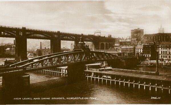 The High Level Bridge, Newcastle Upon Tyne (rear). Designed by Robert Stephenson and built between 1847 and 1849, it is the first major example of a wrought iron tied arch or bow-string girder bridge. Armstrong's Swing Bridge is in the foreground