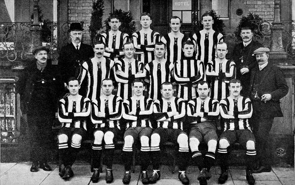 Photograph of the Newcastle United Football team of the 1907-1908 season. The players and staff shown are: Back row, left to right: W. McCracken, D. Pudan, P. McWilliam, J. Carr. Middle row, left to right: J. Bell (Vice-Chairman), A. McCombie, F