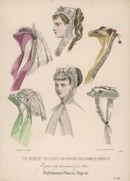 Spring & summer bonnets designed to be worn at the front of the head. Trimmings: lace, flowers, an aigrette & veils. All have lappets while some resemble small lace caps