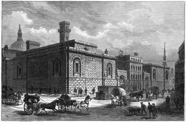 Old Newgate prison shortly before its demolition to make space for the Old Bailey