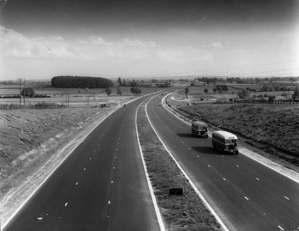 A stretch of the newly-built M1 Motorway, near Little Linford, Buckinghamshire, England, looking south, towards Bow Brickhill, No crash barrier or traffic! Date: 1959 - 1960