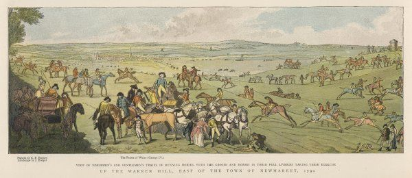 Exercising horses at Newmarket: the Prince of Wales, George IV is in the foreground