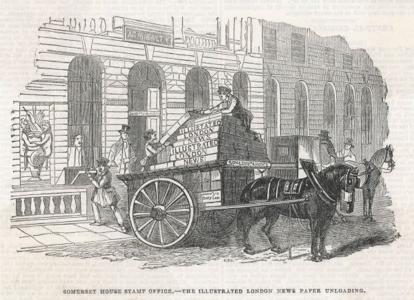 Imposed in 1711, the Stamp Duty on newspapers was not abolished until 1855 : here, the Illustrated London News is being delivered to Somerset House for stamping