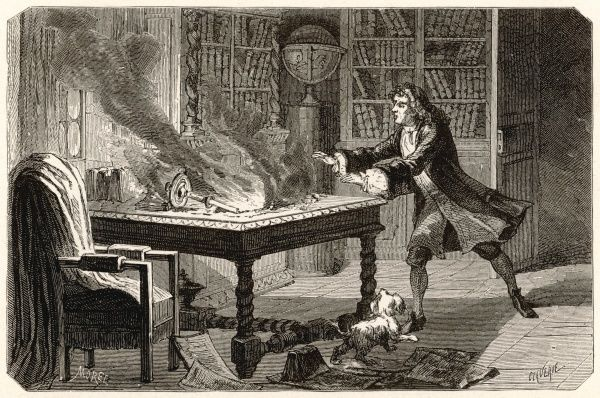 Sir Isaac Newton's dog Diamond knocks over a lighted candle, destroying the results of years of work