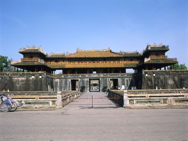 View of the Ngo Mon Gate, entrance to the Imperial Palace in the city of Hue, in Thua Thien Hue Province, Vietnam