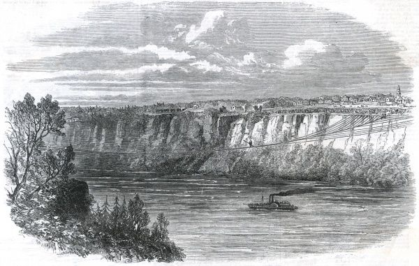 Tightrope expert Farina crosses the Niagara. Date: 1860