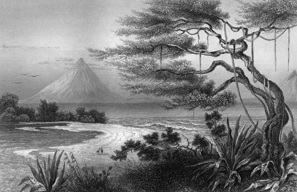 The estuary of the Rio de las Lajas : in the distance is one of the country's many volcanoes. Date: 1850