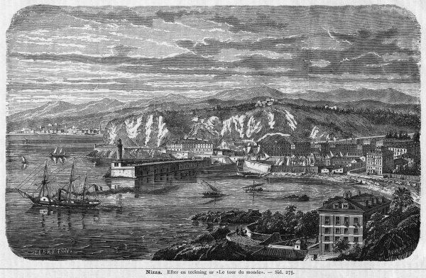 The harbour at Nice : a steamer is puffing out to sea, while several sailing vessels ply hither and thither