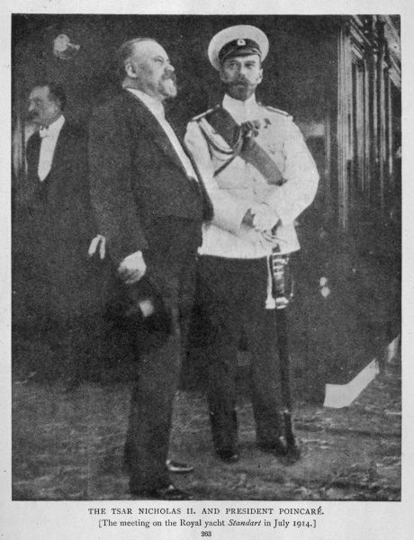 Tsar Nicholas II meets President Poincare of France on the royal yacht 'Standart&#39
