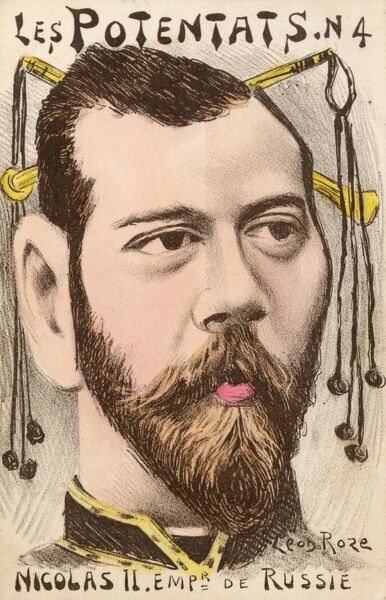A satirical French cartoon on the subject of Tsar Nicholas II (Nikolay Alexandrovich Romanov), the last Emperor of Russia. Date: circa 1904