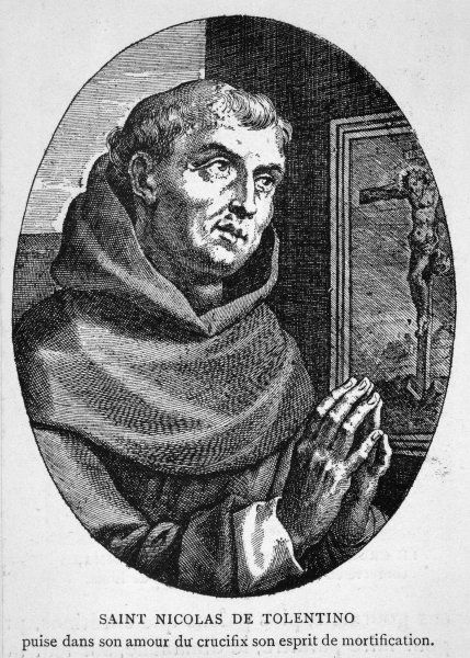 Saint NICOLA DI TOLENTINO Augustinian friar, who led an uneventful life of patience and humility ; he worked in the slums and performed many miracles