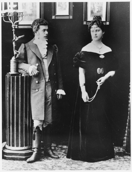 ELIZABETH FEODOROVNA - Russian Grand Duchess with the future Czar, Nicholas II in theatrical costume (for the play Eugenie Onegin)