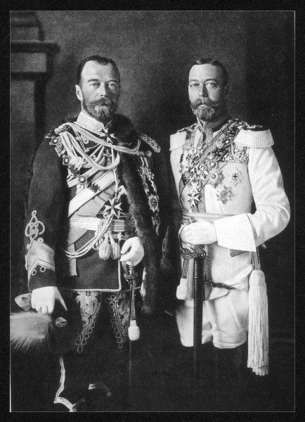 KING GEORGE V OF ENGLAND With Czar Nicholas II of Russia in full military dress