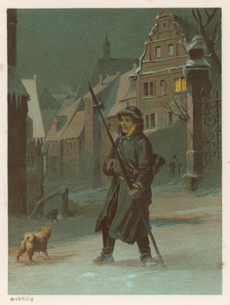 'DER NACHTWACHTER' A German night-watch patrols the streets, armed with a pike and carrying a horn with which to summon help if required (his dog is already helping)