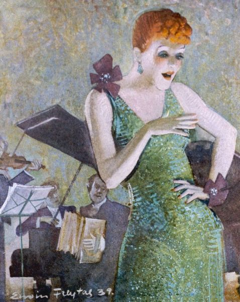 "Die Diseuse (""The Singer"") A redheaded German nightclub singer in a slinky green dress accompanied by the orchestra"
