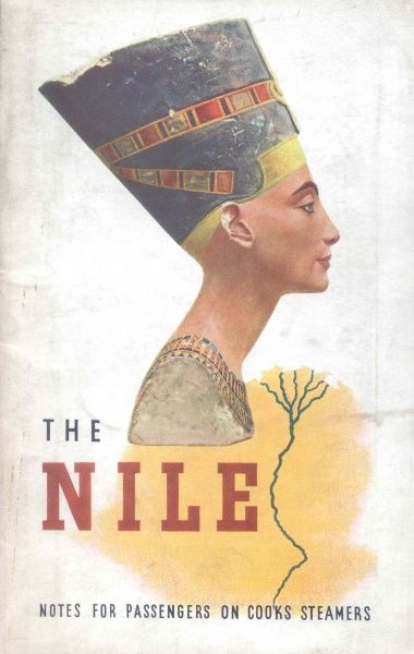 A bust of Queen Nefertiti in profile, with a sketch of the River Nile in the background, on a Thomas Cook publication, Notes for Passengers on Cooks Steamers