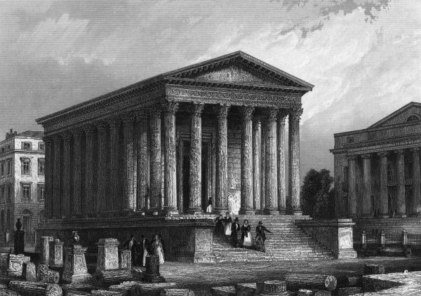 La maison carree, a Roman temple, subsequently used as a warehouse before becoming a must-see tourist attraction. Date: 1850