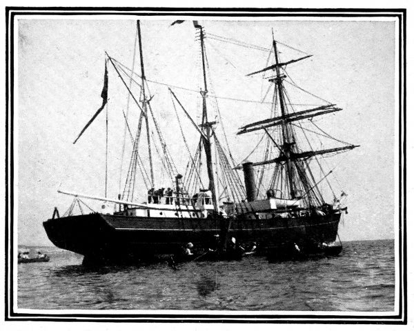 Photograph showing the polar research ship 'Nimrod' shortly after its return from the Nimrod Antarctic Expedition of 1908-09; off Falmouth, 1909