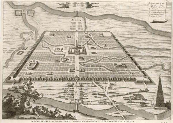 NINEVEH - A plan of the city according to Diodorus Siculus and Father Kircher