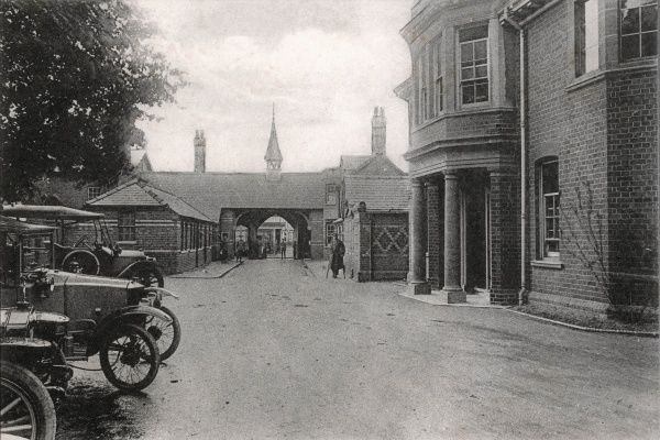 Rear view of the entrance to the No. 1 War Hospital, Reading, Berkshire - the First World War deployment of Reading Union Workhouse