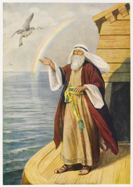 Noah, on the deck of his Ark, welcomes the arrival of a dove carrying a twig, because it means that the floodwaters are subsiding