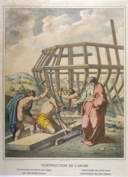 Having received a flood warning from God, Noah sets about the construction of an Ark in which he, and two of every living creature, can survive