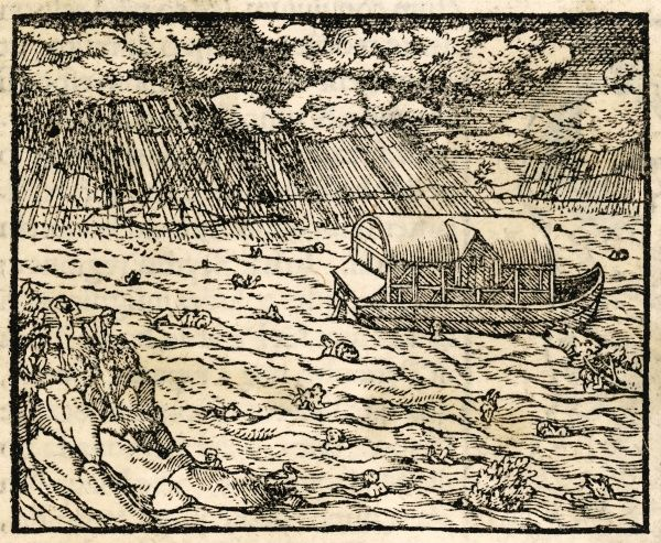 Noah's Ark on the face of the waters as the rain falls and the waters rise