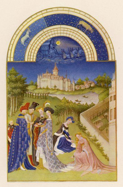 Courtly life in the grounds of the chateau de Dourdan - lovers exchange rings, girls pick spring flowers