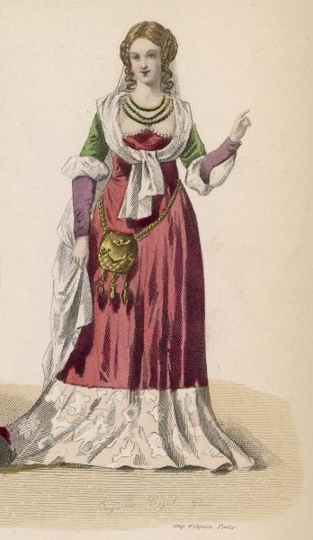 A bare-headed lady carries a little bag suspended at her waist