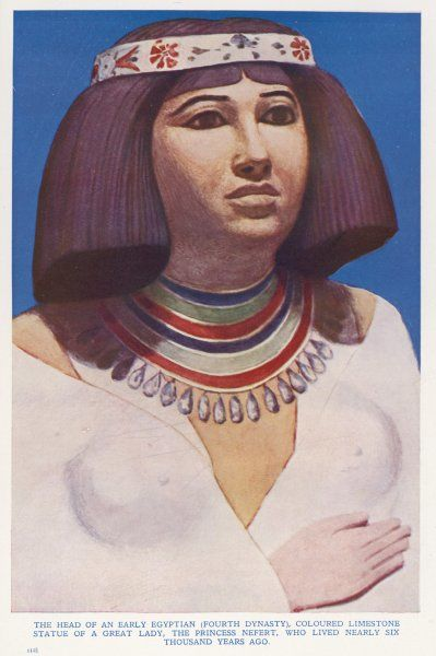 Painted limestone statue of Nofret(a member of the royal family of the Fourth Dynasty) from a tomb in Meidum, Egypt. When the undisturbed mastaba tomb was discover in 1871 by Albert Daninos, the Egyptian workmen opening up the tomb fled in terror