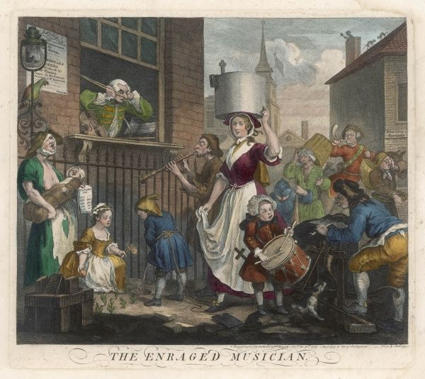 A knife-grinder, a milkmaid, dogs, beggars, musicians, a coalman, and a dustman, a postboy with his horn and a child with her rattle - noise pollution in the 18th century