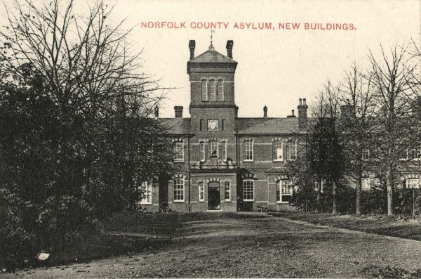 The Norfolk County Lunatic Asylum was established in 1814 at Thorpe near Norwich. This view, from the early 1900s, shows what was then the most recent addition to the buildings. The site was used as a military hospital during the First World War