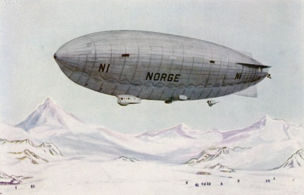 The Italian-built 'Norge' of the Amundsen-Ellsworth-Nobile expedition which will fly from Spitzbergen to Alaska via the North Pole, making Amundsen the first to visit both Poles