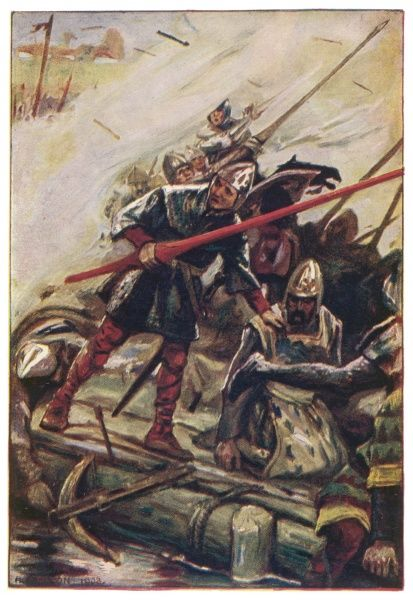 'A shower of arrows fell upon the column.' A fierce battle scene between Hereward and the Norman invaders