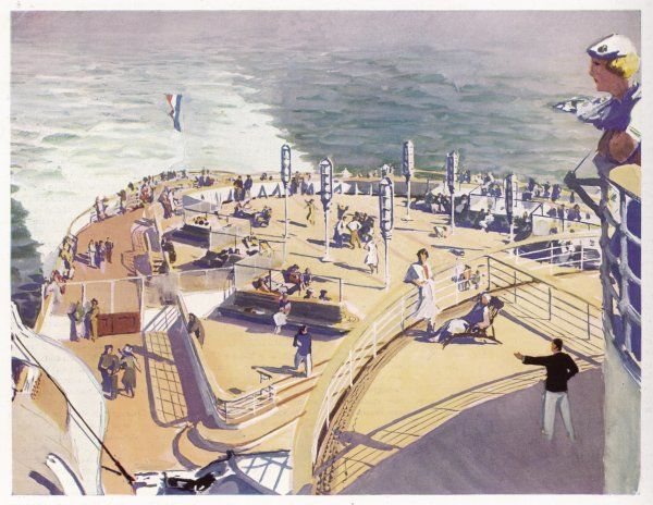 French transatlantic liner - the Promenade Decks