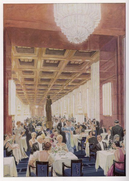 French transatlantic liner - the First Class dining saloon