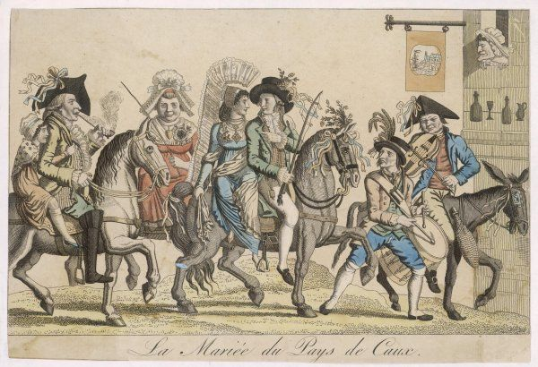 'La mariee de Pays de Caux' - a wedding procession in Normandie. Musicians precede the bride and her entourage, all except the drummer are on horse or donkey-back