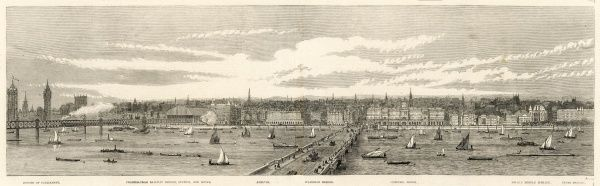 Engraving showing a view, across the River Thames, towards the North bank stretching from the Houses of Parliament (on left) to the Inner Temple (extreme right), London, 1865