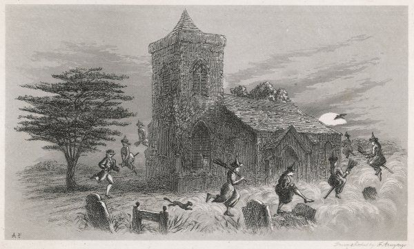 The North Berwick Witches and Dr Fian fly round a church, some on broomsticks, as confessed to King James