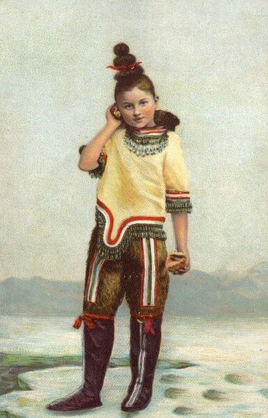 Northern Scandinavian girl in traditional costume, lisening to the sound of the sea in a conch shell. Possibly a young member of the Sami People