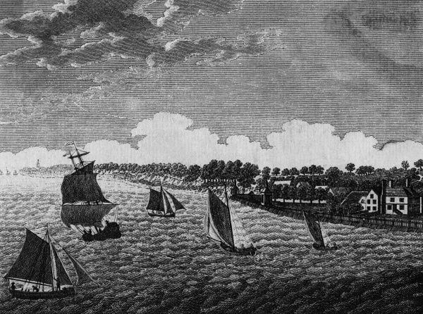 Sailing vessels large and small on the Thames near Northfleet, Kent Date: circa 1790